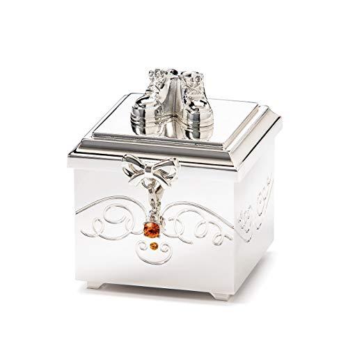 November Birthstone Charm Topaz Silver Tone 3 x 3 Zinc Crystals Keepsake Box ()