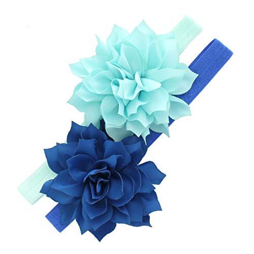 My Lello Petal Flower Headbands Girls Toddler Mixed Colors 2-Pack (Light Blue/Nautical Blue) ()