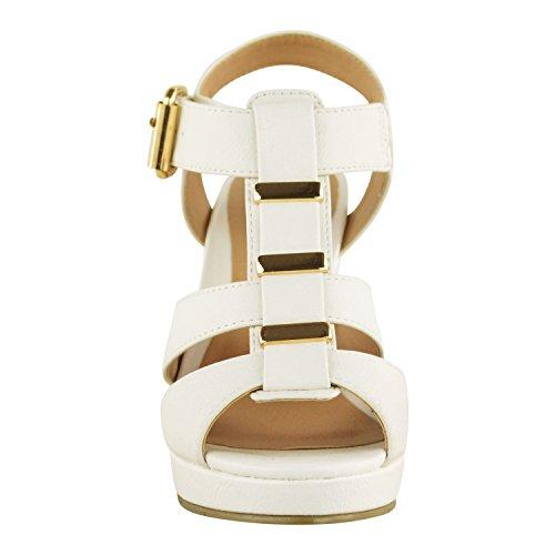 Zeppa Con Fashion Donna A Similpelle Basso Thirsty Sandali Da Tacco Cinturino Aperta Medio Bianco Punta Alto nqWcwcrF