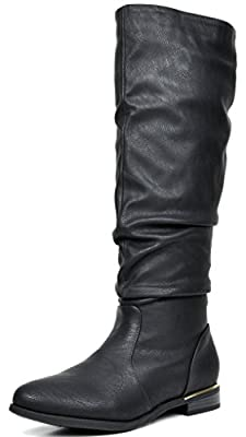DREAM PAIRS STAND Women's Fashion Casual Faux Fur Lining Slouchy Knee High Fall/Winter Riding Boots