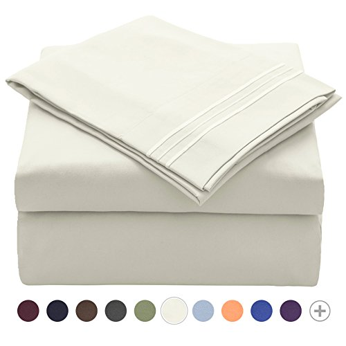 VEEYOO Bedding Sets Queen Size – Extra Soft Brushed Microfiber 1800 Bed Sets – Wrinkle, Stain, Fade Resistant Hypoallergenic Deep Pocket Sheet Set, Breathable 4 Pieces Bed Sheet Sets Ivory