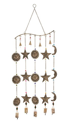 Deco 79 24289 Attractive Metal Glass Wind Chime, 14