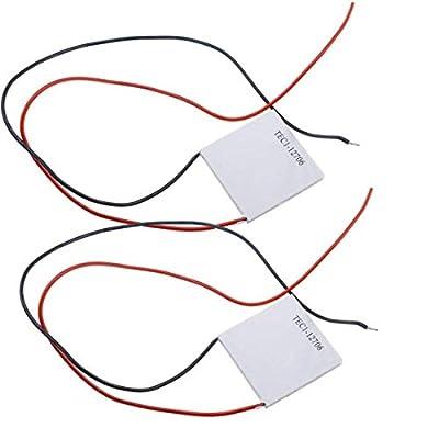 HiLetgo 2pcs TEC1-12706 Semiconductor Refrigeration Tablets TEC1-12706 12V 6A Heatsink Thermoelectric Cooler Cooling Peltier Plate Module 40x40MM