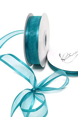 Teal Organza Ribbon with Satin Edge-25 Yards X 7/8 Inches]()