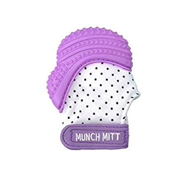 Munch Mitt Teething Mitten Is Teether That Stays On Babys Hand For Self Soothing Pain Relief Purple Shimmer