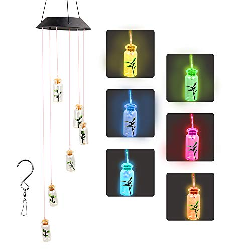 ZOUTOG Solar String Lights, Color Changing LED Mobile Bottles Lights, Waterproof Outdoor Wind Chimes for Home/Yard/Patio/Garden from ZOUTOG