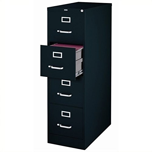 "25"" Deep Commercial 4 Drawer Letter Size High Side Vertical File Cabinet Color: Black"
