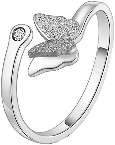 SUNSCSC Stainless Steel Cubic Zirconia Butterfly Ring for Women Silver