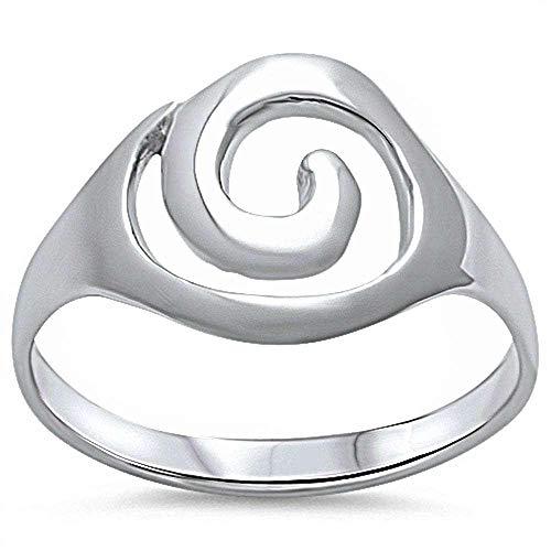 (Princess Kylie 925 Sterling Silver Plain Swirl Design Ring Size 7)