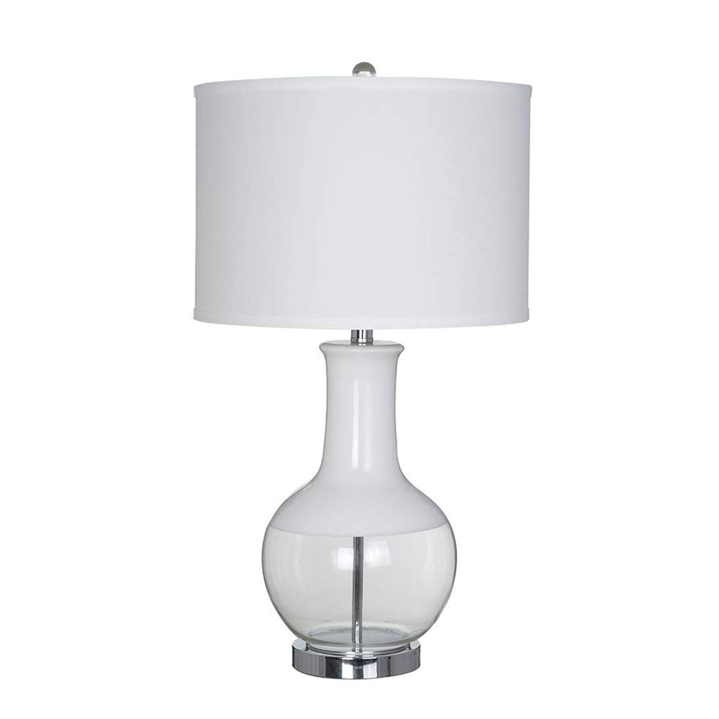 Stone & Beam Modern Casual Glass Table Lamp, 28  H, With Bulb, White Shade