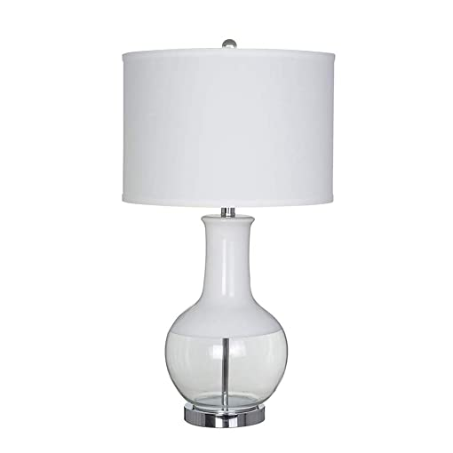 Stone Beam Modern Glass Table Lamp With Light Bulb And White Shade – 15 x 15x 28 Inches, White