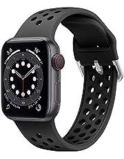 Songsier Band Compatibel voor Apple watch 38mm 40mm 41mm 42mm 44mm 45mm, zacht siliconen ademend luchtgat Sportpolsbandjes Vervangende bandjes Compatibel met iWatch SE / iWatch-serie 7 6 5 4 3 2 1