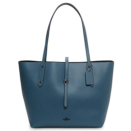 COACH Women's Polished Pebble Leather Large Market Tote Dk/Chambray One Size ()