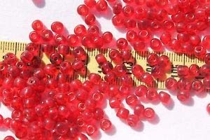 2/0 Old Time Vintage Venetian Trans Dark Ruby Red Glass Seed Beads/1oz Spacer Beads and Roll Crystal String for Bracelets Jewelry Making
