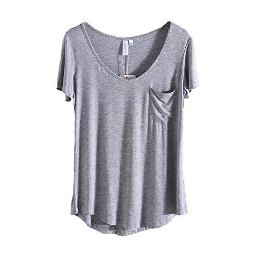 General Women Plus Size Modal T Shirt Short Sleeve V-Neck Fashion Loose Shirt Top
