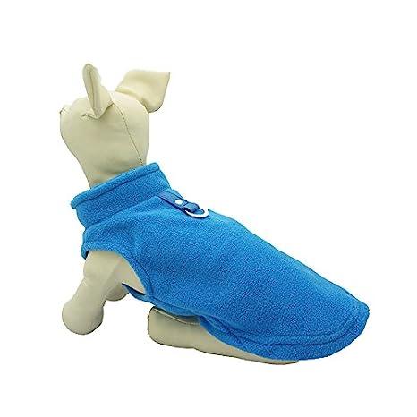 Cara Mia Dogwear Dog Fleece Harness Vest Jumper Sweater Coat for Small Breed Dogs, Medium, Royal Blue