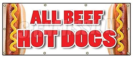 Amazon.com: Todas Las Carne de Vacuno Hot Dogs Banner Sign ...