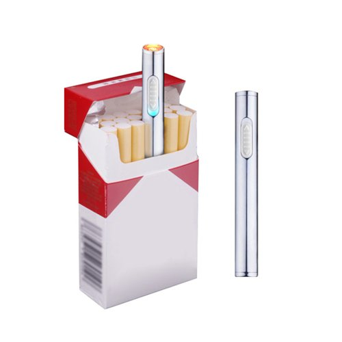 Usb Mini Lighters Electronic Rechargeable Windproof Flameless Portable Cigarette Slim Lighter  Silver