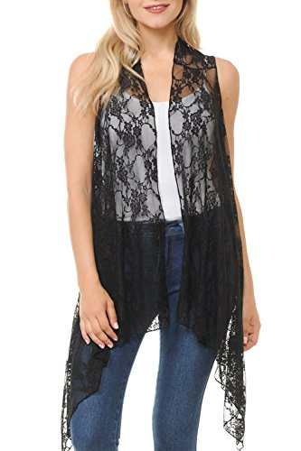 Crocheted Duster - BASICO Women's Open Asymmetrical Hem Print Chiffon Vest Cardigan (One Size, Flowery Lace- Black)