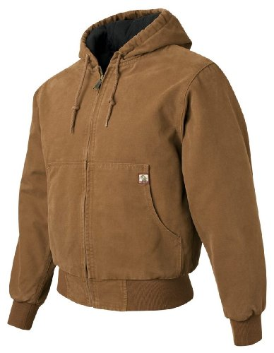 Hooded Boulder Cloth Jacket (Cheyenne Hooded Boulder Cloth Jacket with Tricot Quilt Lining, Color: Saddle, Size: Small )