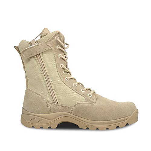 Ludey Men's 8'' Military Boots Leather Nylon Work & Safety Boots Tactical Boots Outdoor Water Resistant Boots with Zipper Tan 10.5 US ()