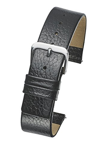 Genuine Leather Watch Band - Smooth Flat Leather Watch Strap 16mm - Black (Womens 16mm Watch Band)