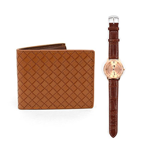 Rose Gold Tone Wrist Watch & Bifold Leather Wallet Gift Set ()