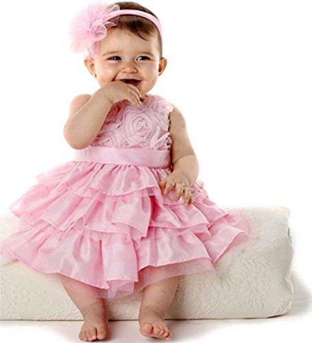 Amazon.com: Baby Girls Party Fancy Pink Silk Flower Dresses+headband ...