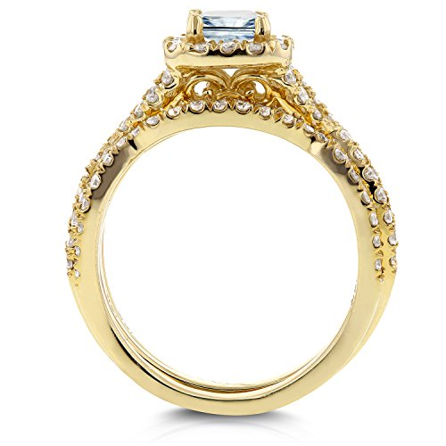 Princesse Diamant tressé de mariage de Lot de 1 1/5 CT en or jaune 14 K _ 7.0