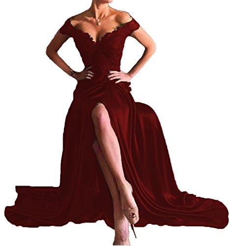 XingMeng Off The Shoulder V Back Satin Prom Evening Dresses with High Slit Burgundy US 4 (Dress Slit Prom Back)