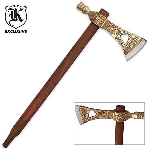 K EXCLUSIVE Tribal Peace Pipe Tomahawk With Brass Accents Brass Tomahawk