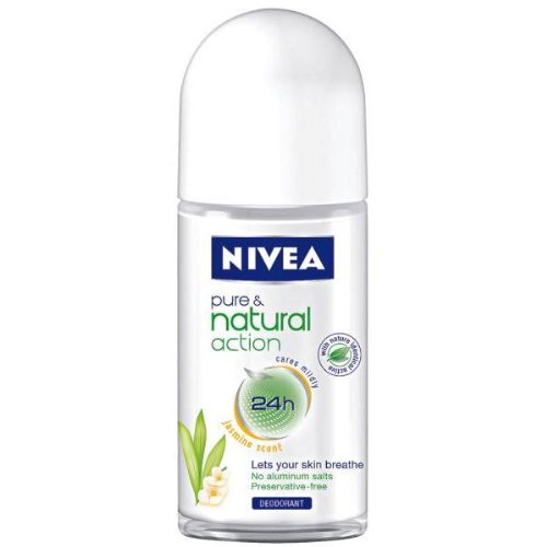 Nivea PURE & NATURAL ACTION (JASMIN SCENT) Deodorant ROLL-ON for Women, 50 ML / 1.7 OZ