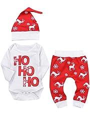 K-youth Ropa Bebe Nino Recien Nacido Otoño Invierno Infantil Body Bebe Niña Conjunto Bebé Mono Navidad Papá Noel Letra Mameluco de Manga Larga + Pantalone + Sombrero 0-24 Mes