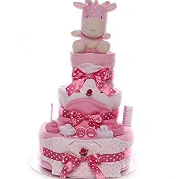 Nappy Cake Spotty Giraffe Large Baby Girl FREE FAST DELIVERY