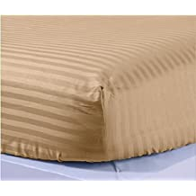 """JB Linen 500 Thread-Count Egyptian Cotton Extra Deep Pocket 1PC Fitted Sheet/Bottom Sheet Three Quarter (48"""" x 75"""") Taupe Striped Fit Up To 18"""" inches Deep Pocket Fully Elastic All Around."""