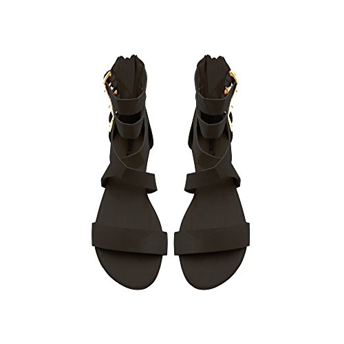Sara Z Womens Triple Ankle High Wide Strap Flat Gladiator Sandals With Back Zipper Size 7/8 Black/Gold (Flat Triple)