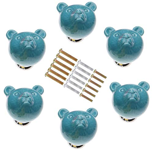 - SCTD Animal Bear Drawer Pulls Handles for Baby Nursery Kids Room Cupboard Wardrobe Cabinet, Handmade Cute Decorative Ceramic Dresser Knobs with 3 Size Mounting Screws, Set of 6 (Blue)