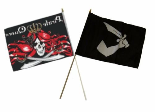 Moon Knives 12''x18'' Wholesale Combo Pirate Queen & Thomas Tew Arm Sword Stick Flag - Party Decorations Supplies For Parades - Prime Outside, Garden, Men Cave Decor -
