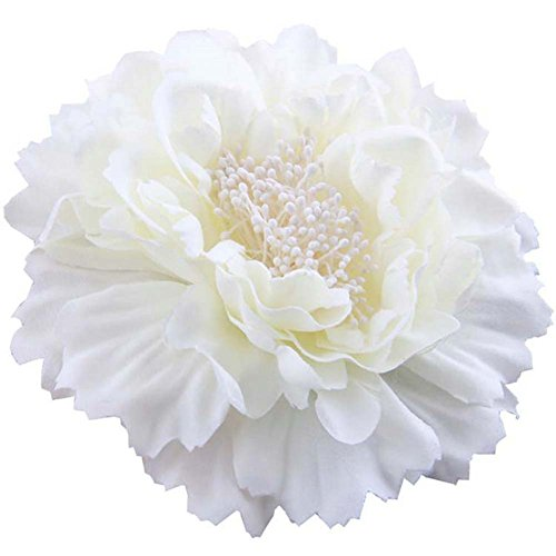 Large Flower Pin - 4.75 Inch Big Artificial Fabric Big Peony Flowers Hair Clip and Pin Accessory (Ivory white)