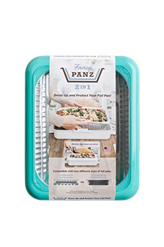 Fancy Panz 2-in-1 USA-Made Portable Casserole Carrier for Shallow and Deep Half Size Foil Steam Pans, Foil Pan and Serving Spoon Included (Aqua)