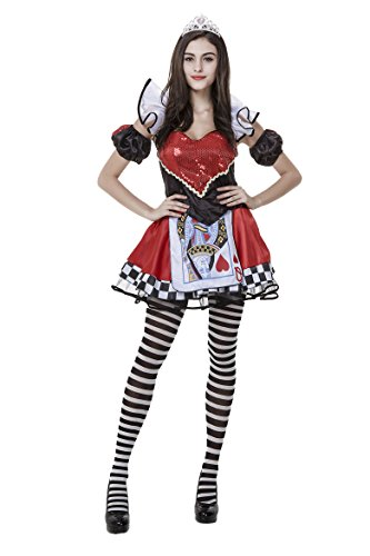 Honeystore Women's Heart Playing Card Queen Adult Halloween Costume Style 1 (Queen Of Hearts Card Adult Costume)