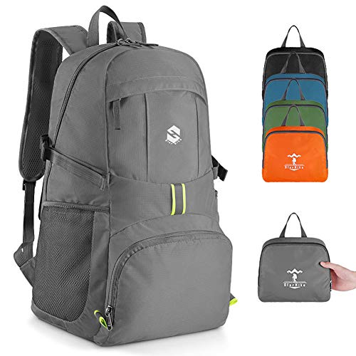 OlarHike Lightweight Travel Backpack, 35L Water Resistant Packable Traveling/Hiking Backpack Daypack for Men & Women, Multipurpose Use - Grey