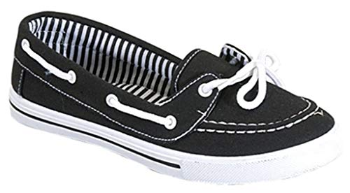 Womens Canvas Slip On Boat Shoe Loafer Sneaker, Black/White, 8.5