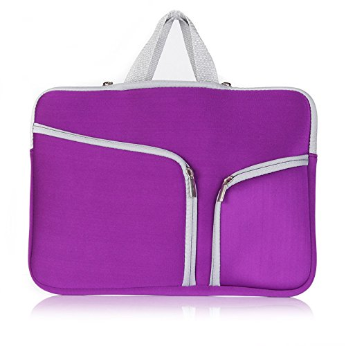 Onteck Zipper Briefcase Neoprene Sleeve Case Cover Bag for MacBook Pro 15.4'' with or w/out Retina Display and Laptop 15'' With Pockets for MacBook Charger (Purple) by Onteck