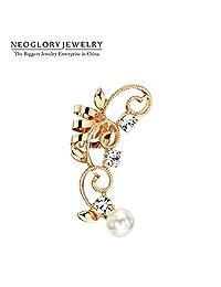 Slyq Jewelry Rose Gold Plated Rhinestone Fashion Ear Cuff Clip on Earring Jewelry Charm Brand NewEA1