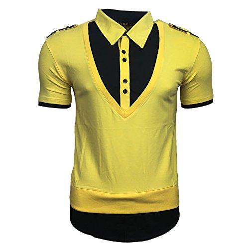 Print Druck T-Shirt Herren Knopf Kurzarm Gelb Weiß Grün Rot Neu A13191, Größe:M, Farbe:Gelb / Schwarz