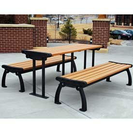 (Heritage Picnic Table, Recycled Plastic, 6 ft, Black & Cedar)