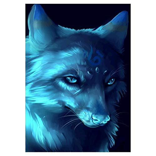 Adarl 5D DIY Full Drill Animal Diamond Painting Rhinestone Blue Wolf Pictures of Crystals Diamond Dotz Kits Arts, Crafts & Sewing Cross Stitch ()