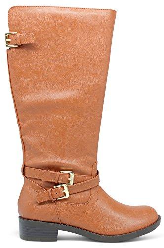 [Girls Kids Childrens Knee High Riding Boots - (Cognac) - Little Kid 2] (Brown Boots For Kids)
