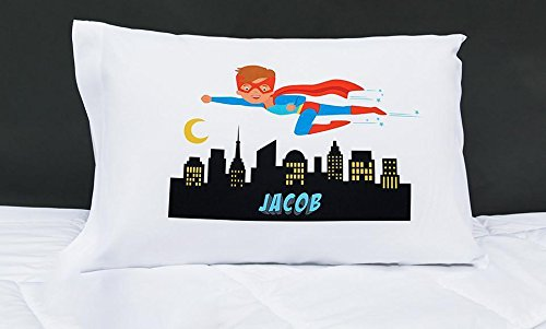 Qualtry Personalized Gifts for Toddler Kids, Boys and Girls - Unique Customized Pillow Cases, Standard Size 21 x 31 (For Boys, Superhero Jacob)